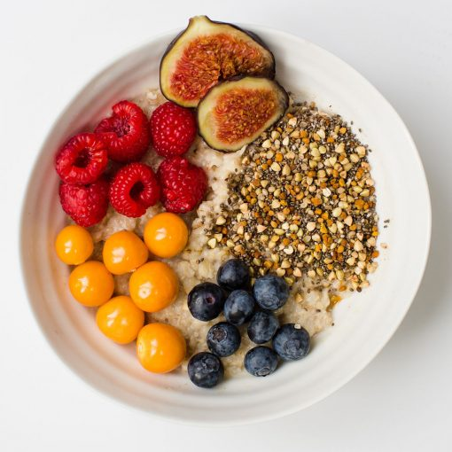 Two Birds Bare Super Seeds Breakfast Boost oats and fruit bowl