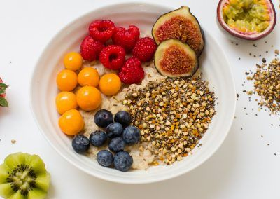 Fruit and porridge oats with Two Birds bare super seeds